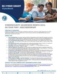 Cybersecurity Awareness Month 2021 - Creating Passwords Tip Sheet